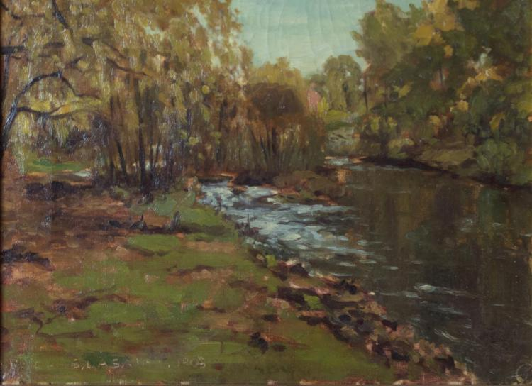 Signed c1905, Oil on Canvas Creek & Forest Scene