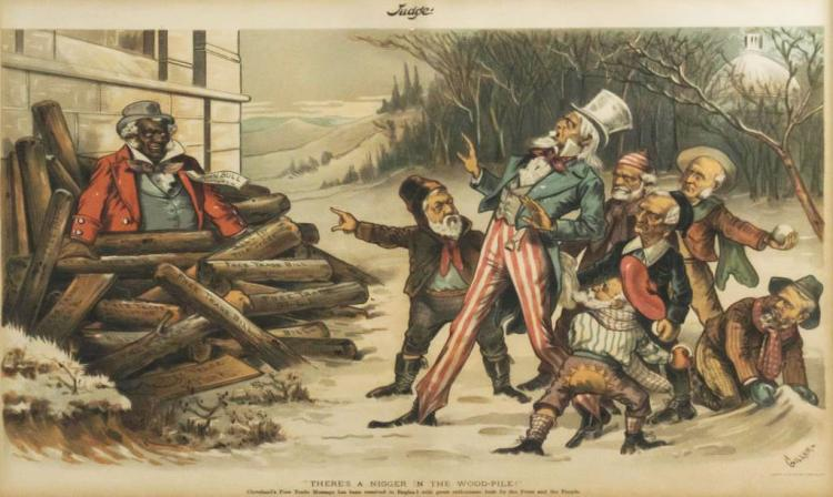 Rare Bernhard Gillam Black Americana Judge Print
