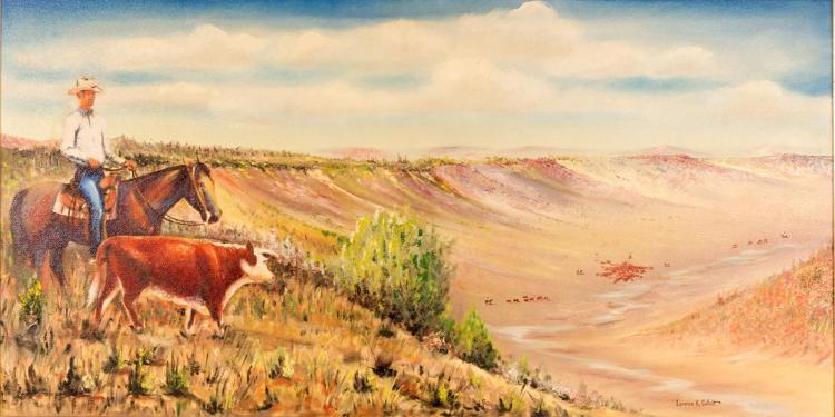 Laurence H Coffelt (1910-1976) Cowboy w/ Cows