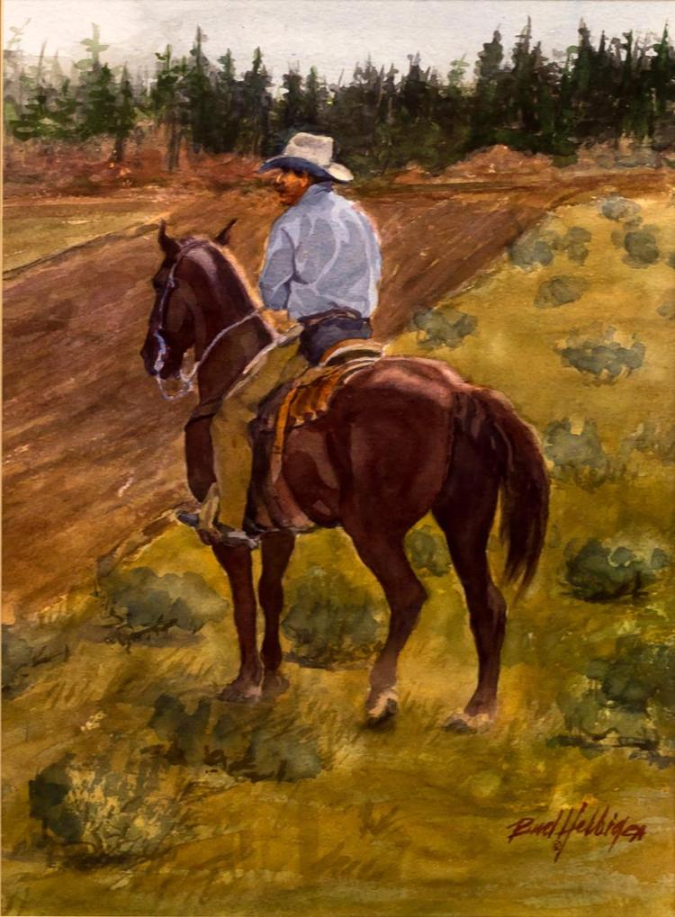 Bud Helbig (1919-2002) Western Watercolor