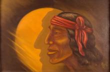 20th C Signed Native American Oil Painting