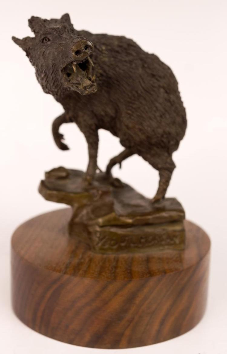 J.L. Morgan (20th C) Bronze Javelina Figurine
