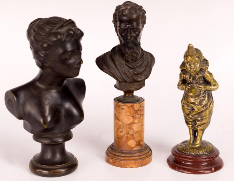 3Pc. Statue Lot, Louis Kley, Micheal Angelo