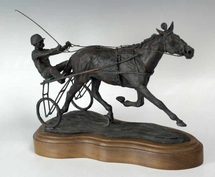 Signed Harness Racing Bronze Ltd Ed, Horse #3