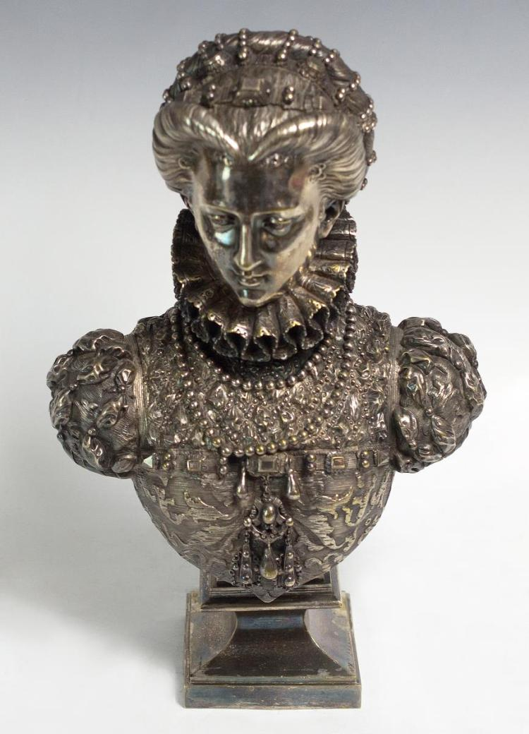 Mathurin Moreau (1822-1912) Silver Plated Bust