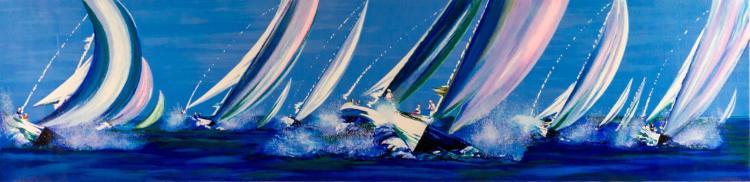 Victor Spahn (1949-) Sailing Lithograph