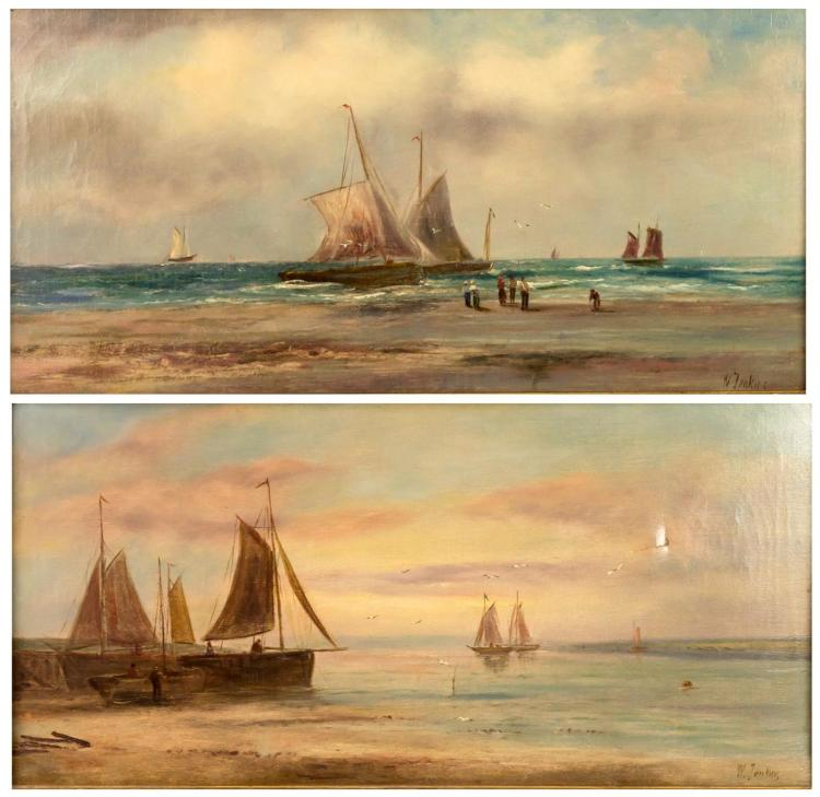 2Pc Signed W. Jenkins Seascape Painting Lot