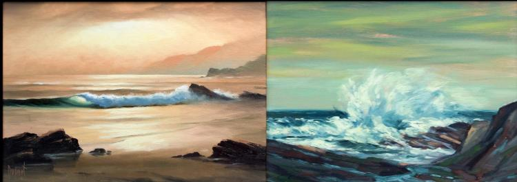 Pr. Signed California Seascape Paintings, Knudson