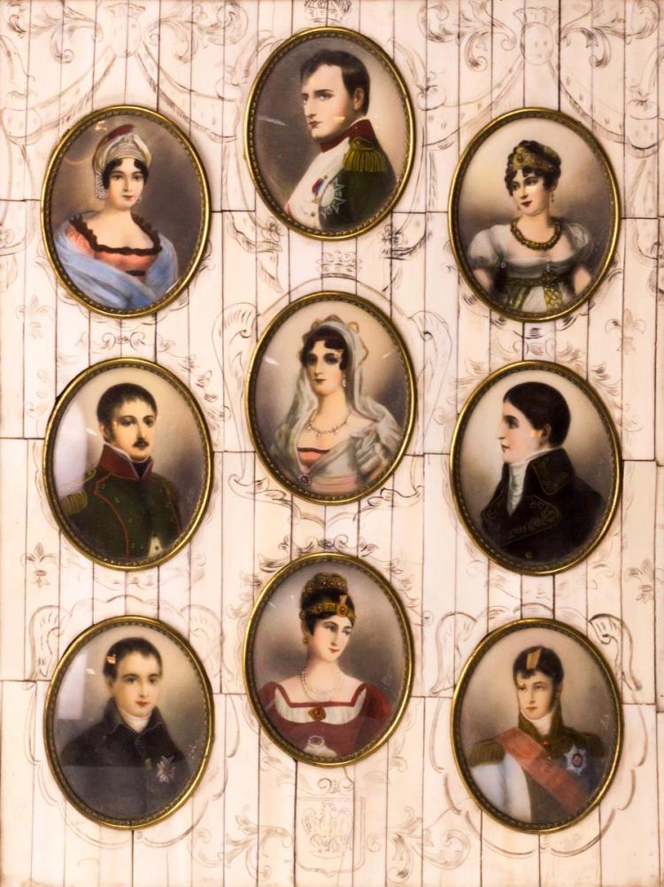 Napoleon Bonaparte Family 9 Ivory Portrait Plaques