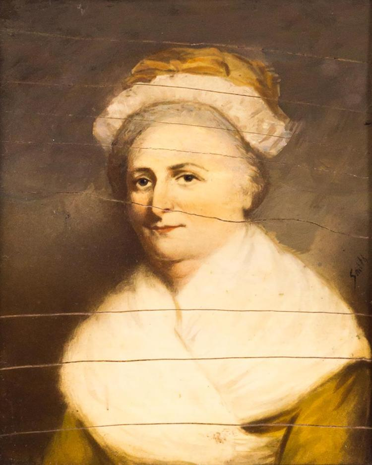 19th C. Martha Washington Portrait Painting, Ivory