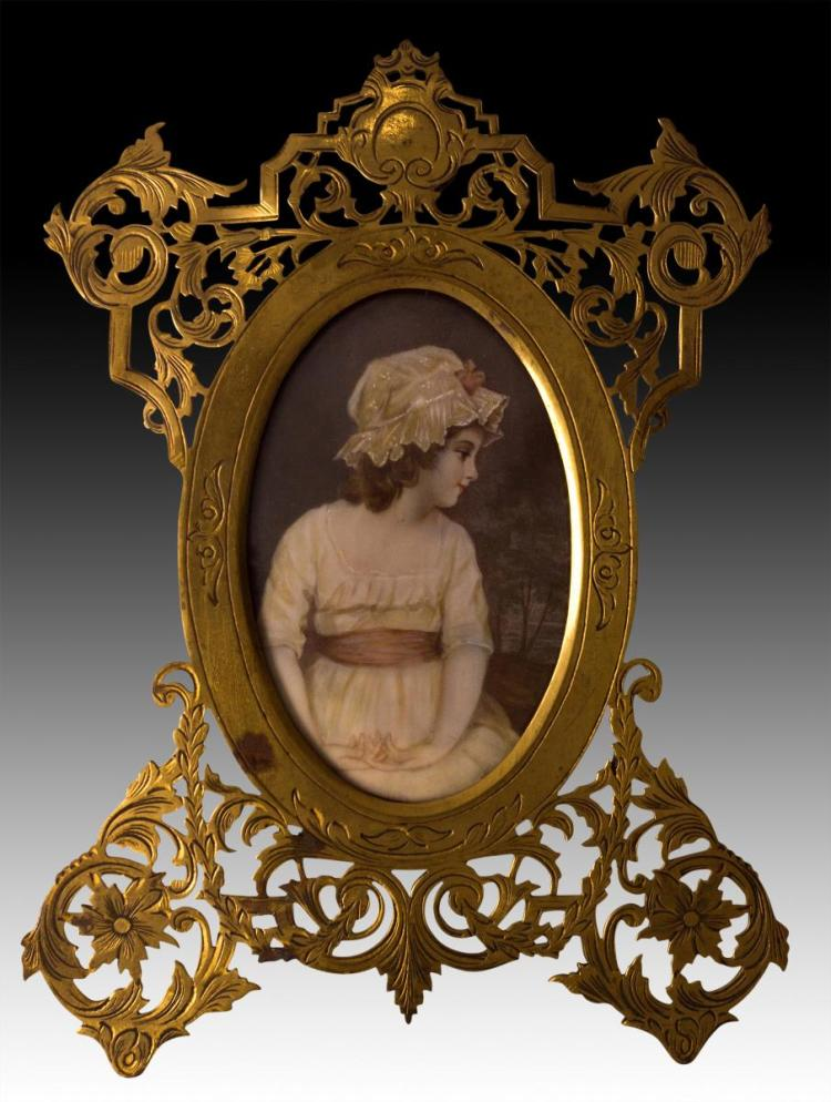 19th C. Bonnet Girl Portrait Painting on Ivory