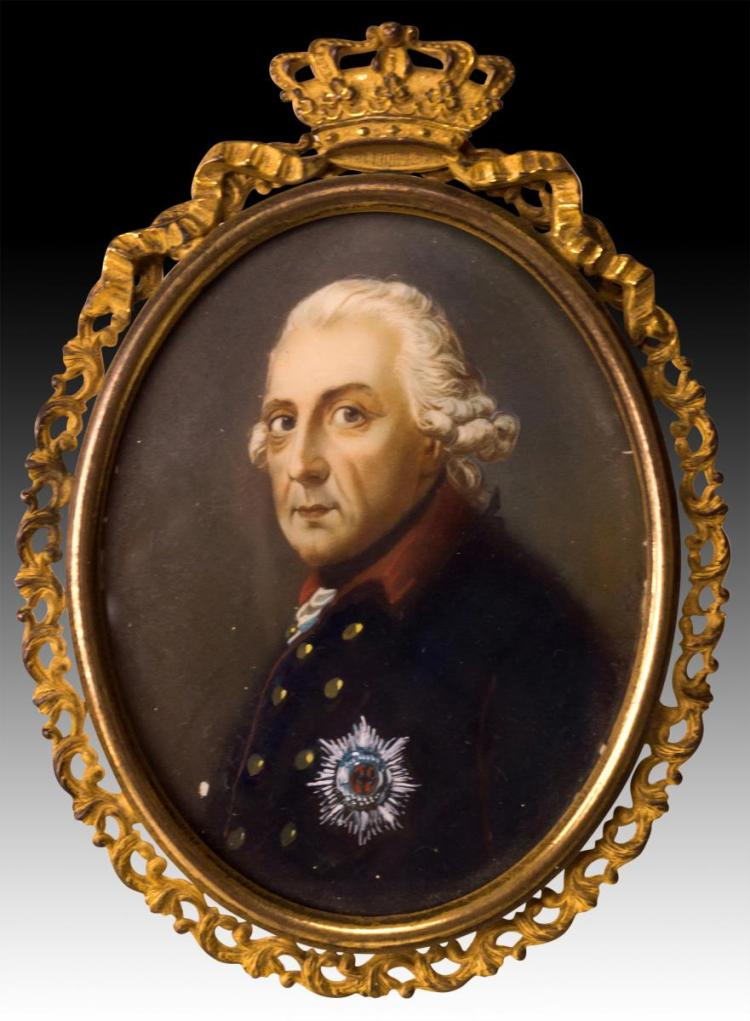 19th C Frederick the Great Portrait Painting Ivory
