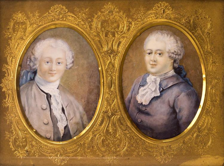 Pr. 19th C Portrait Painting Ivory, Double Brass