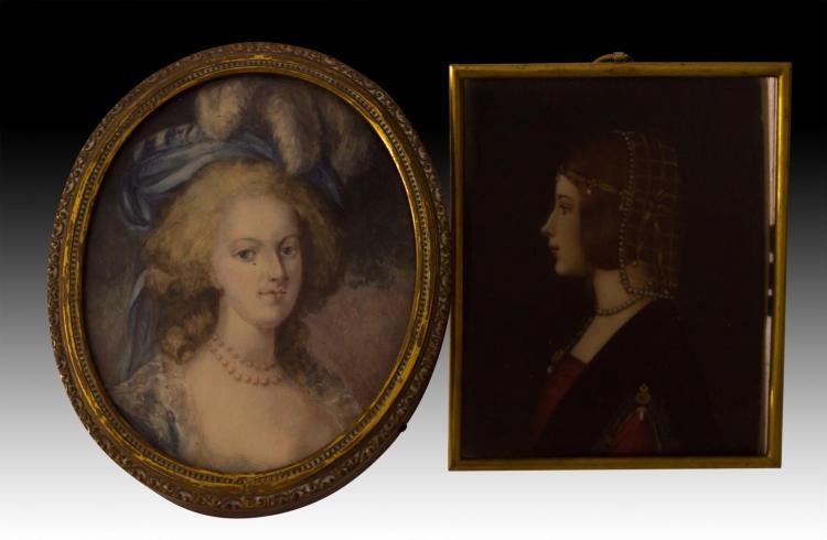 2 Portrait Painting Ivory Marie Antoinette, D'este