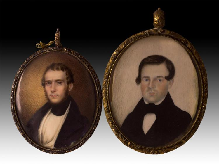 2 Gentlemen's Portrait Painting on Ivory, Mourning