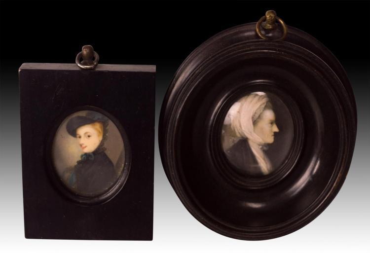 2 Ladies Portrait Painting on Ivory, 1 Signed S P