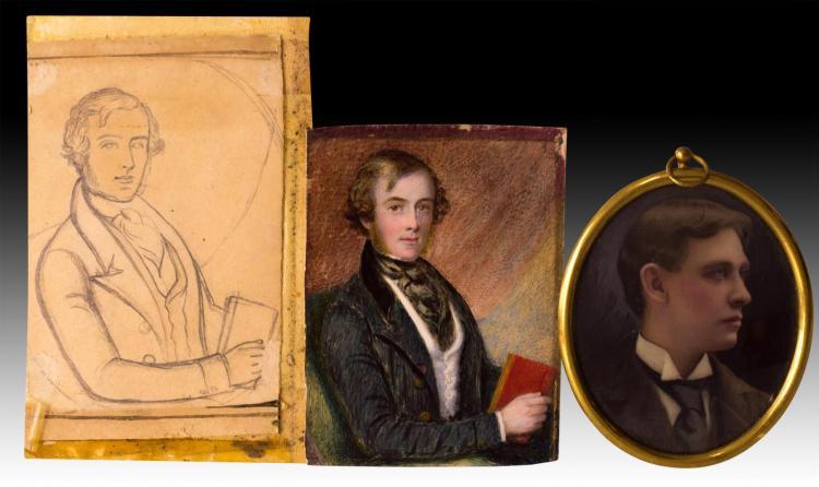 2 Gentlemen's Portrait Painting on Ivory w/ Sketch
