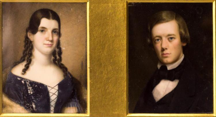 2 Portrait Paintings on Ivory George Sand & Chopin