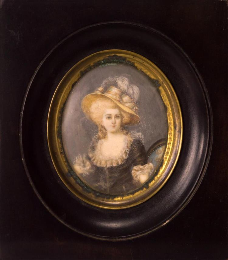 Miniature Portrait Painting on Ivory Attr. Vestier