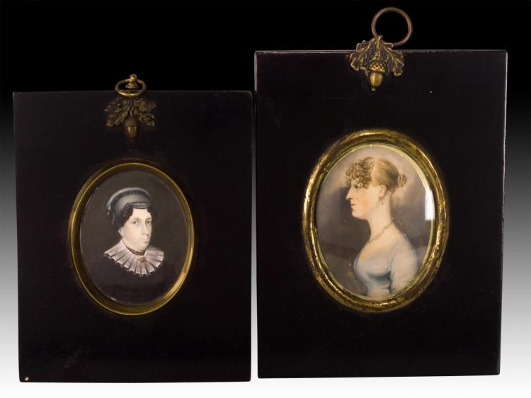 2Pc. 19th C. Miniature Portrait Painting on Ivory