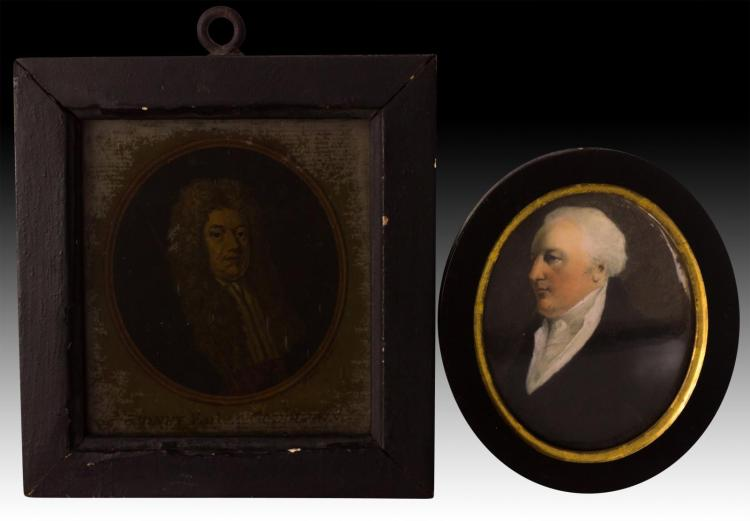 2Pcs. Portrait Painting on Ivory & Mezzotint