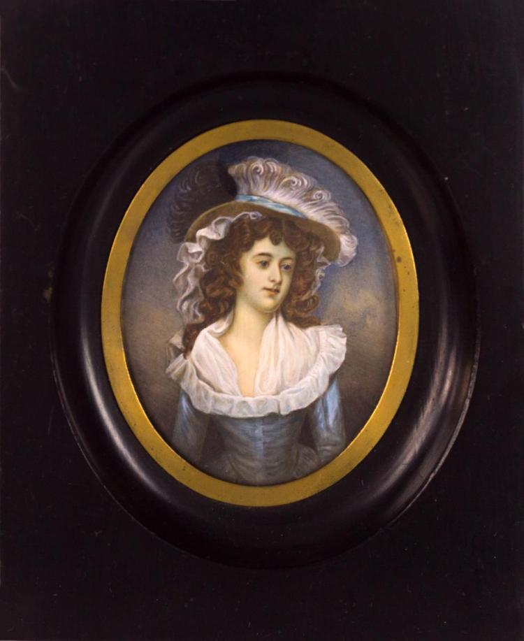 Miniature Portrait Painting on Ivory, Lady w/ Hat