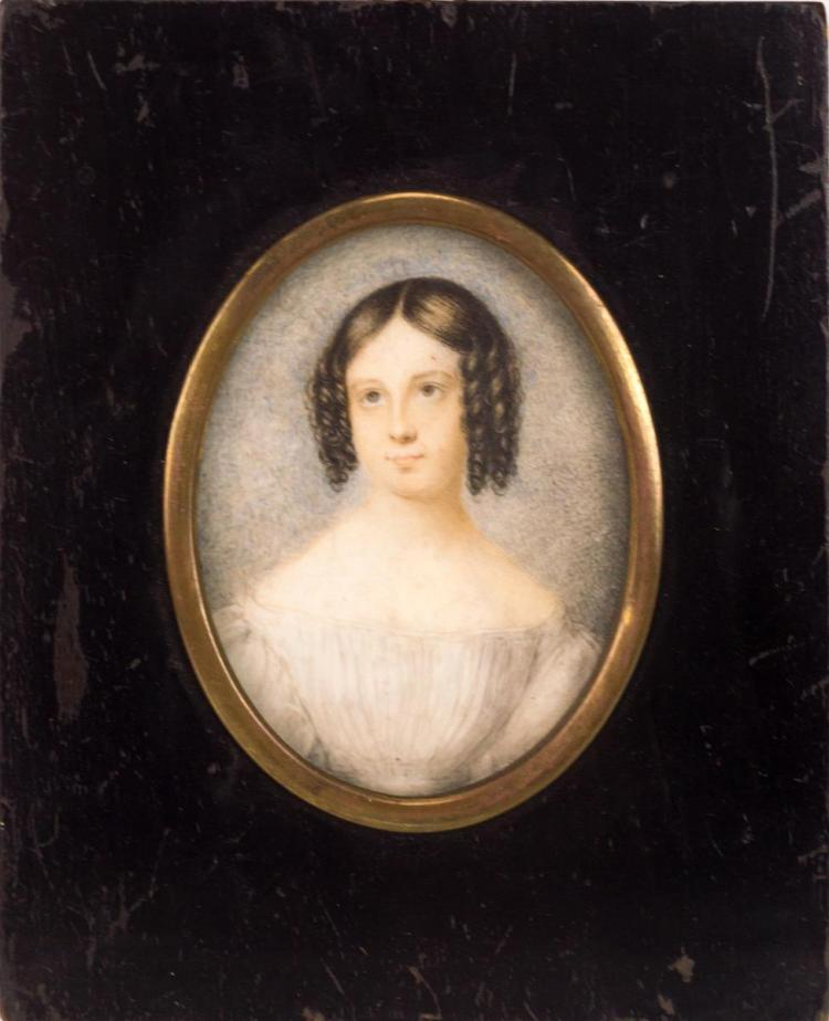 Miniature Portrait Painting on Ivory Lady in White