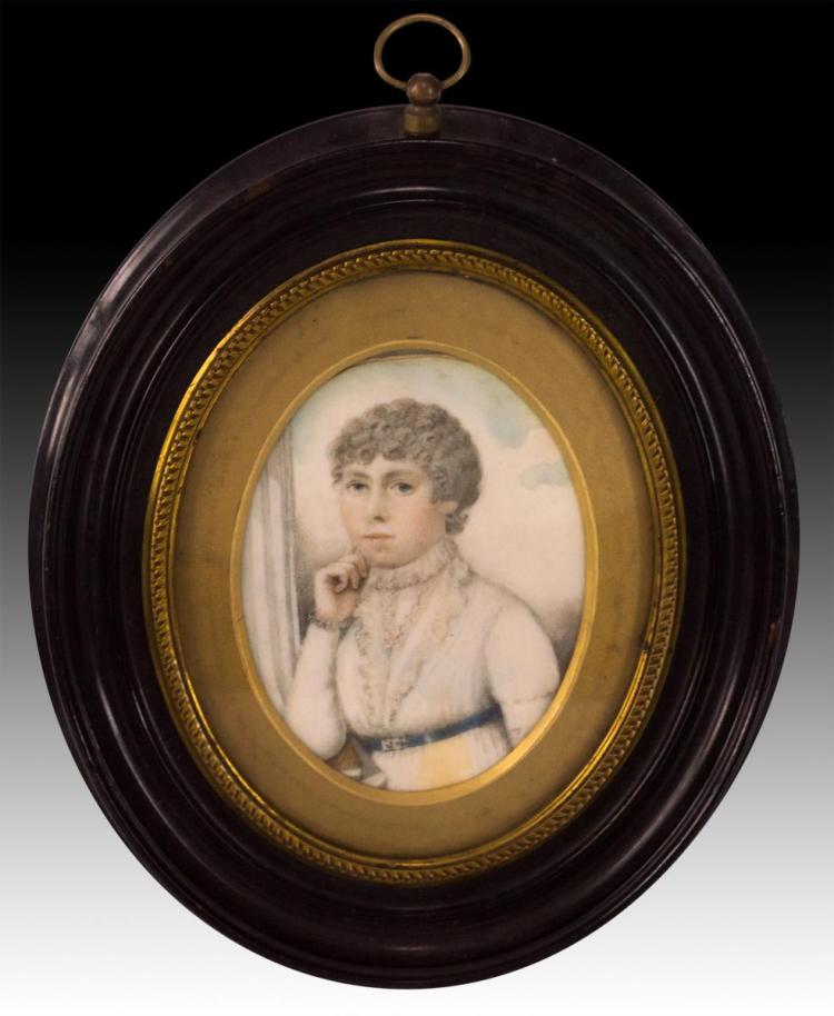 Miniature Portrait Painting on Ivory Lady w/ Belt
