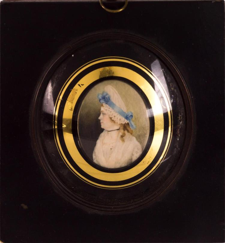 Miniature Portrait Painting on Ivory, Lady in Blue