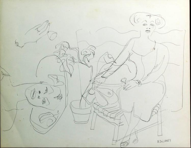 Beauford Delaney (1901-1979) Figural Drawing