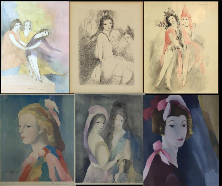 Marie Laurencin (1883-1956) 6Pc Lot of Mixed Media