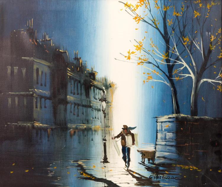 G. Pierre Man Walking At Night Oil Painting
