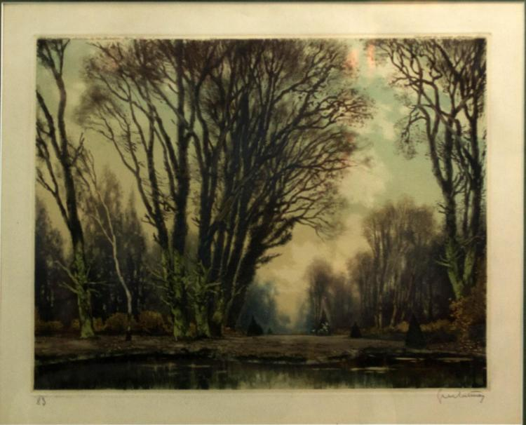 Gruntnary 20th C. Aquatint Etching Landscape