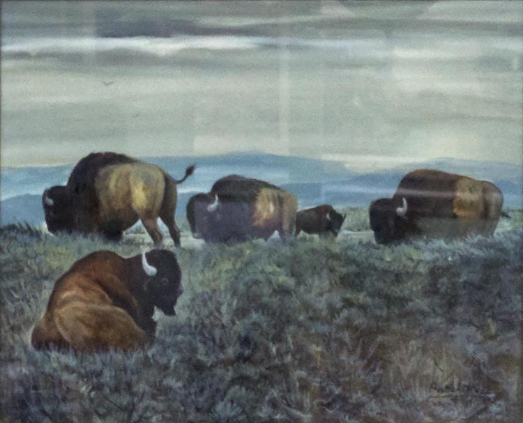 Austin Deuel (b. 1939) Buffalo Painting, Gouache