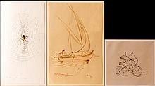 3Pcs Frederic James (1915-1985) Pen & Ink Drawings
