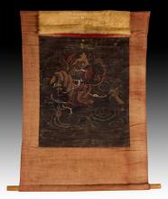 19th C. Japanese Samurai Textile Scroll Painting