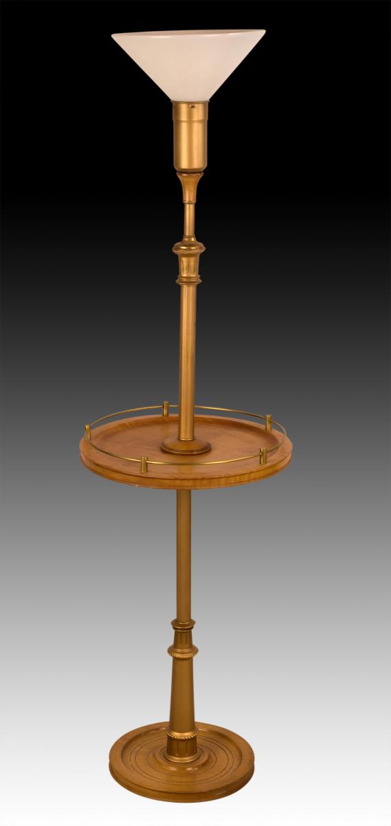 20th c floor lamp w tiger maple table for 100s on the table 20s on the floor