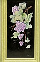Signed Catherine Iobst Oil on Tile, Grapes