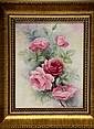 Signed Catherine Iobst Oil on Tile, Flowers