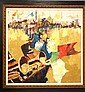 Signed Berrat Oil on Canvas, Trumpeters