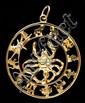 14kt Gold Scorpio Zodiac Pendant w/Diamond