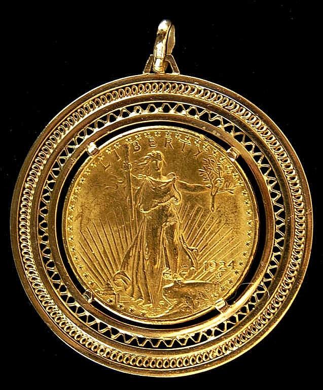 1924 St. Gaudens $20 Gold Piece in 14k Bezel