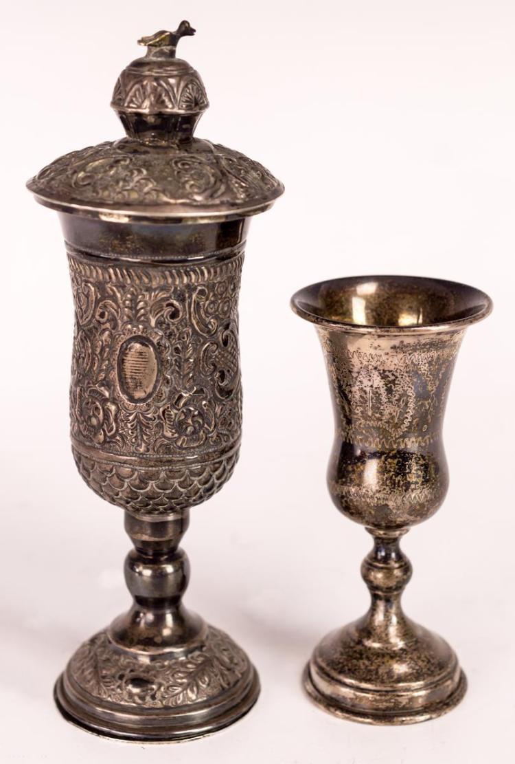 2Pcs. Judaica Sterling Kiddush Cups, 1 w/ Oil Lamp