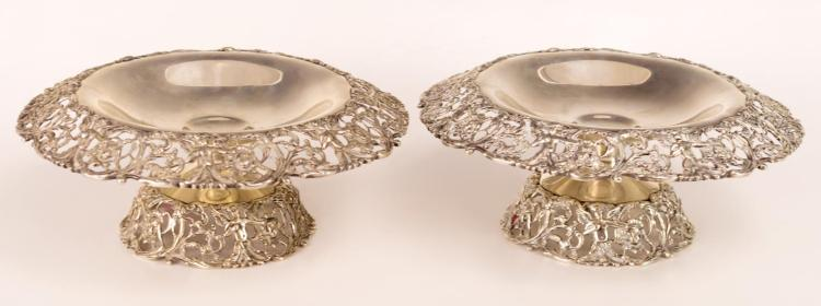 Pair Signed Sterling Silver Repousse Compotes #65