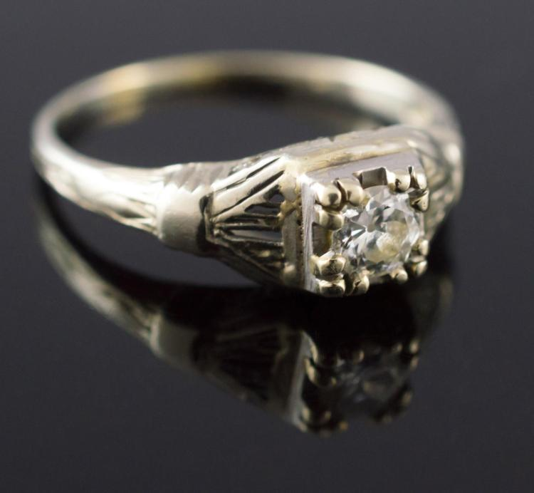 14K Gold Art Deco Diamond Wedding Ring