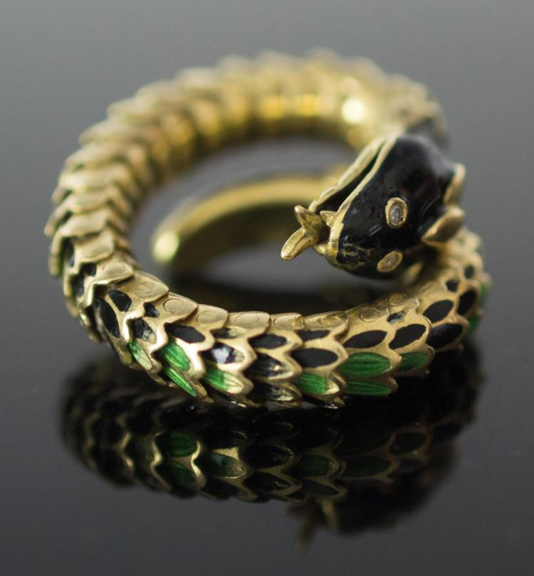 18K Yellow Gold Diamond Enamel Snake Ring
