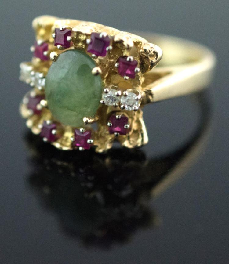 14K Yellow Gold Jade, Diamond & Red Topaz Ring