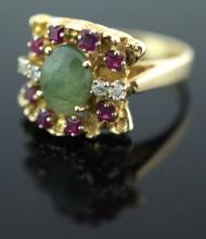 14K Yellow Gold Jade, Diamond & Red Topaz Ring