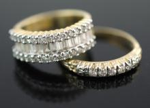 14K Yellow Gold Diamond Ring Pair