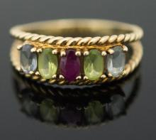 10K Yellow Gold Ruby, Topaz & Amethyst Ring